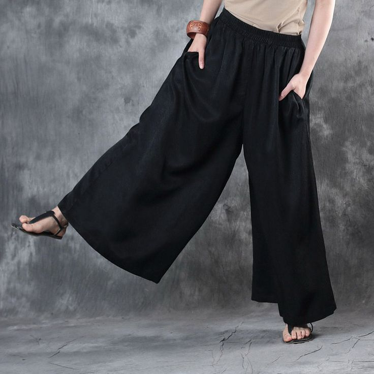 Vintage Style Plain Silk Wide Leg Pants Glittering Flowy Pants    #black #wideleg #baggy #plussize #pants #trousers #linen #flowy #fashion #casual