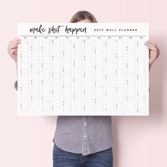 2017 Make Sht Happen Wall Calendar Year Planner