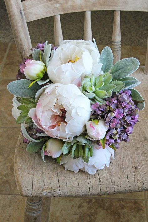 White peony and lavender hydrangea succulent wedding bouquet by Southern Girl Weddings. See more here: https://www.etsy.com/shop/SouthernGirlWeddings