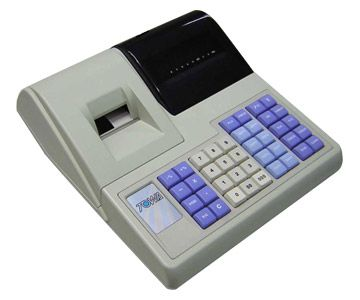SPECIFICATIONS   	Display 	Operator : 1 line 7 segment VFD 9 digits 	Customer : 1 line 7 segment VFD 9 digits    	Printer 	2 station 28 mm line thermal printer    	Printing speed 	Approx. 361 dot line per sec.    	Keyboard 	40 Key position raised keyboard    	Power 	220 volt