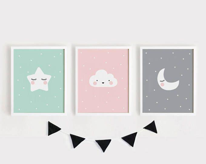 Sterne-Wolke Mond Kinderzimmer Dekor druckbare Kindergarten Kunst gesetzt von 3 Poster Kinderzimmer Wanddekoration Kinderzimmer Dekor Mint grau rosa INSTANT Digitaldruck