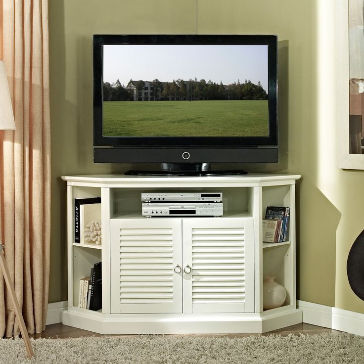 Wood Corner TV Stand   White | From Hayneedle.com