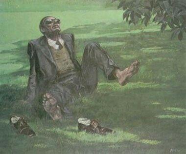 Alberto Sughi - A piedi nudi, Olio su tela, 1971