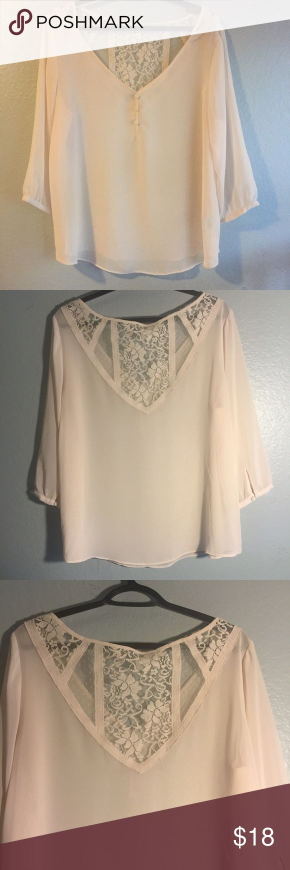 Lauren Conrad Blouse Off white beige blouse. Beautiful detailed lace design on the back of the blouse. Flowy 3 quarter sleeve. LC Lauren Conrad Tops Blouses