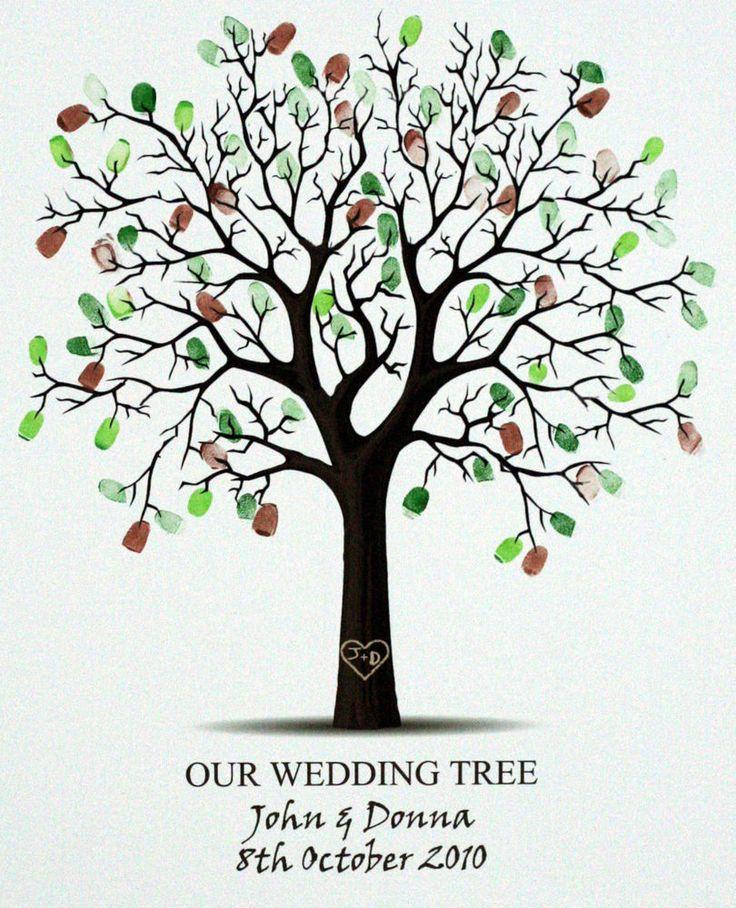 Personalised Fingerprint Tree Wedding Signing Board -Guest Book Alternative