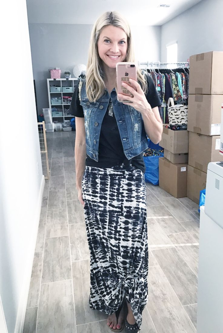 Casual boho chic outfit! LuLaRoe maxi skirt and classic tee, topped off with a jean vest. Click to shop LuLaRoe, or for more style inspiration !