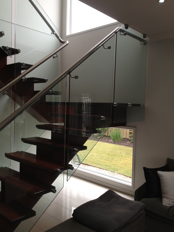 Internal stairs - glass - timber - floating