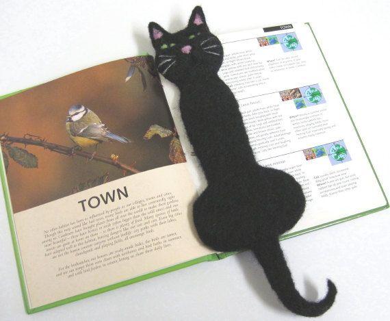 Needle Felted Black Cat Bookmark by PatsParaphernalia on Etsy