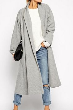 This ::: Shawl Neck Gray Wool Coat
