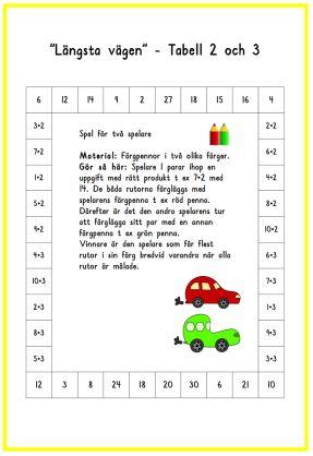 Längsta vägen tabell 1 och 2