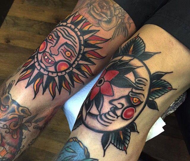 18 best tattoo ideer images on pinterest tattoo ideas for Traditional moon tattoo