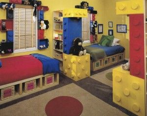 Lego Kids Room:    First it's about theme. One that is universal to both children. In the case of the room photographed here (from my book Christopher Lowell's Seven Layers of Organization) both kids loved LEGOs. This of course set the color palette. And paint is the cheapest and easiest way to fill a room that reflects a young child's personality. So cheery, primary colors became the springboard in creating a playful environment.