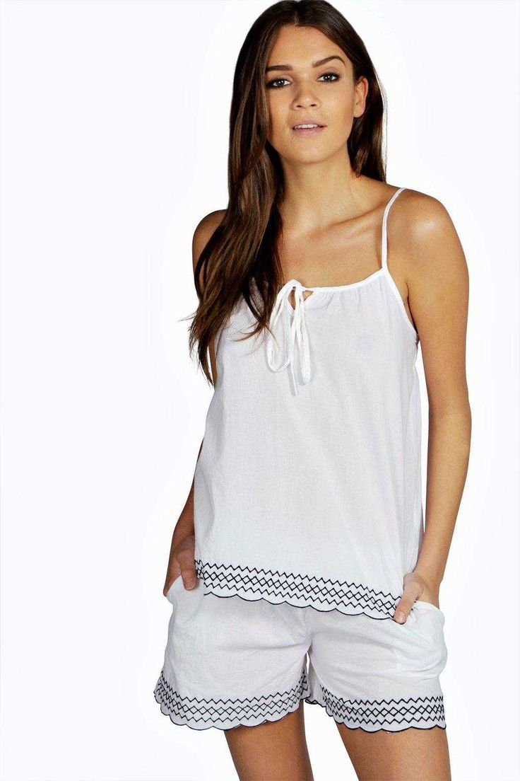 #FashionVault #boohoo #Sale #Women - Check this : boohoo Maria Woven Aztec Trim Cami & Short Set - white for $26 USD instead of $16 #OnSale