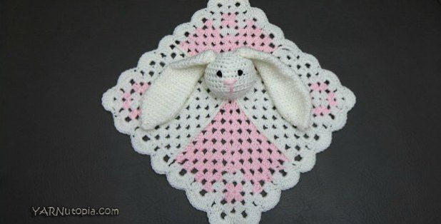 Free crochet pattern and video for this pretty bunny lovey blanket for babies.