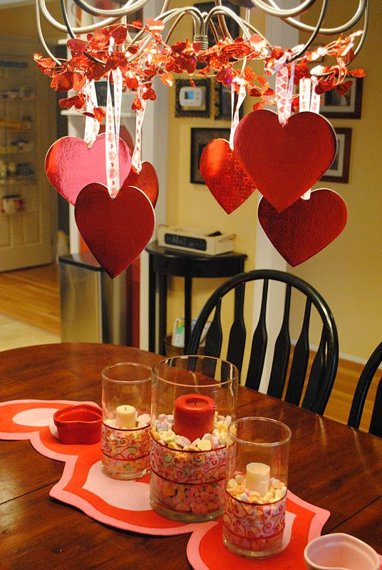Heart-Filled Chandelier (and other decorating ideas) **used different hearts from Michael's..like it better. Who knew such cheapo decor could look so cute!**