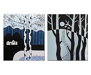 Composizione di 2 tele dipinte a mano Orme misteriose - 50x60 cm