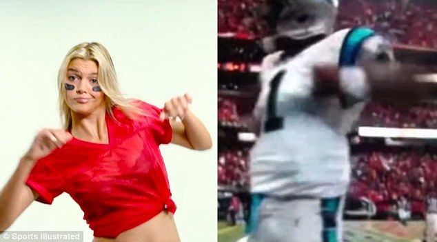 Busting out: Kelly impersonatesCarolina Panthers quarterback Cam Newton's Superman dance...