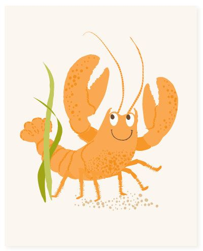lobster  art print  nursery art for children by SeaUrchinStudio, $15.00