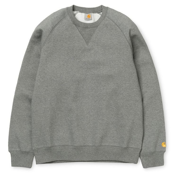 Carhartt WIP Grey Chase Sweatshirt: This season Carhartt's European division of the Detroit based brand (Work In Progress) presents a collection of everyday apparel, containing stripped-down and re-built iconic design concepts, to showcase the Work In Progress attitude. The Chase Sweatshirt in charcoal  grey features a cotton blend construction and is finished with ribbed cuffs and waist, plus a branded tag to the lower hem.