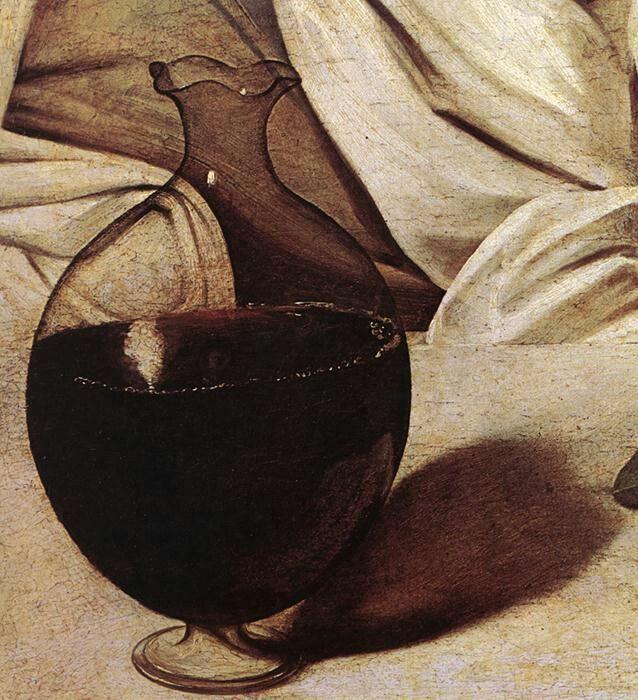 """autoritratto di Caravaggio celato nella brocca del celebre """"Bacco"""""""