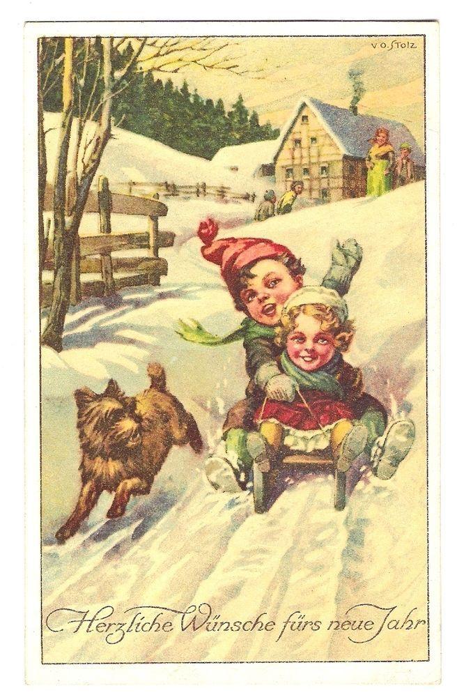 V. O. Stolz, Kinder mit Schlitten, Hund, 1919