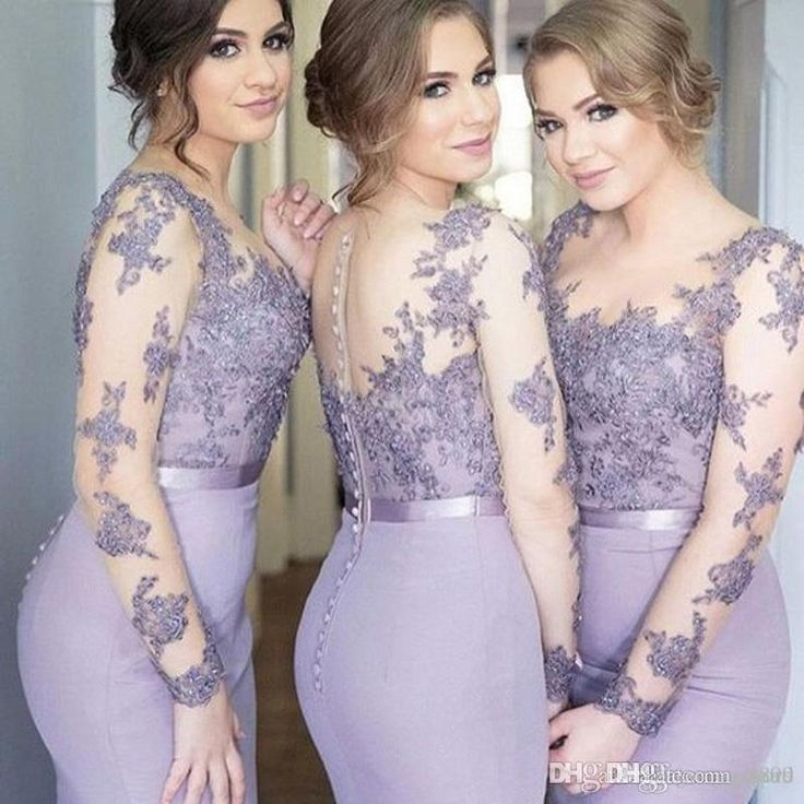 Lace Appliques Mermaid Bridesmaid Dresses Scoop With Illusion Long Sleeves Sheer Neck Floor Length Maid Of Honor Evening Dresses Country Bridesmaid Dresses Designer Bridesmaid Dresses From Icloud, $94.48| Dhgate.Com