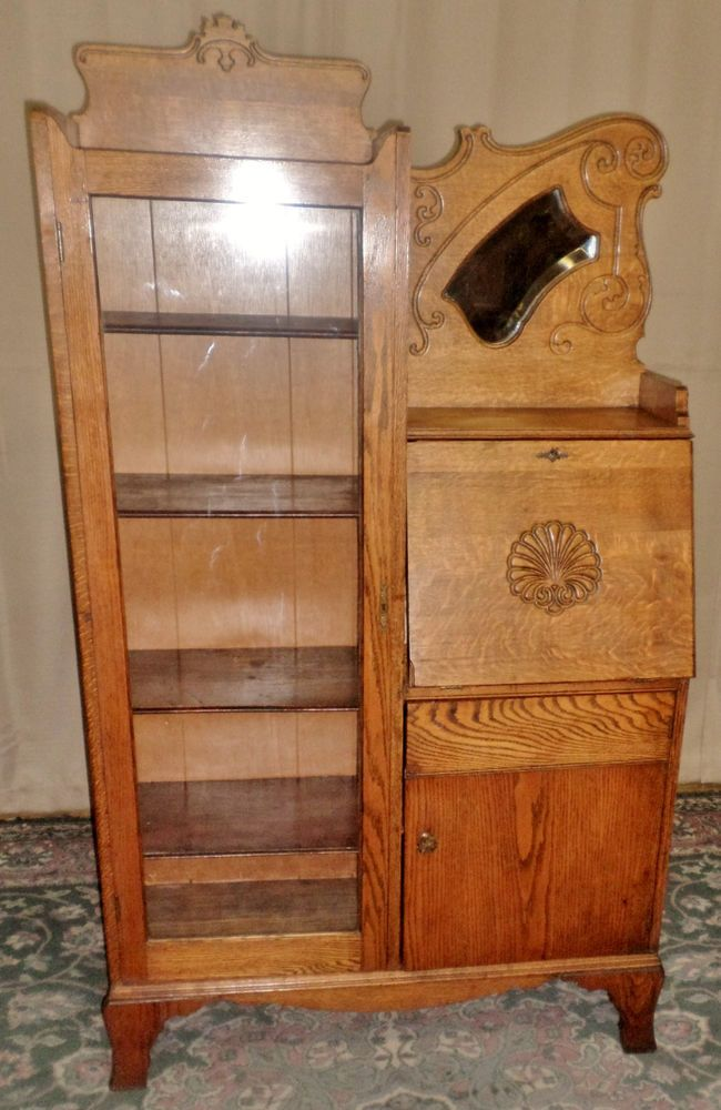 ANTIQUE Oak Side by Side Writing Desk, Bookcase, Cabinet, Carving Work,  Mirror - 47 Best Oak Secretary Images On Pinterest Furniture, Antique