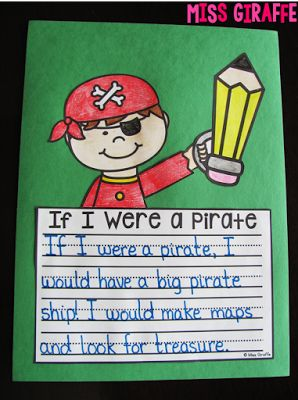 Pirate writing craft that is super easy to make - also has additional pages and writing boxes with more lines!