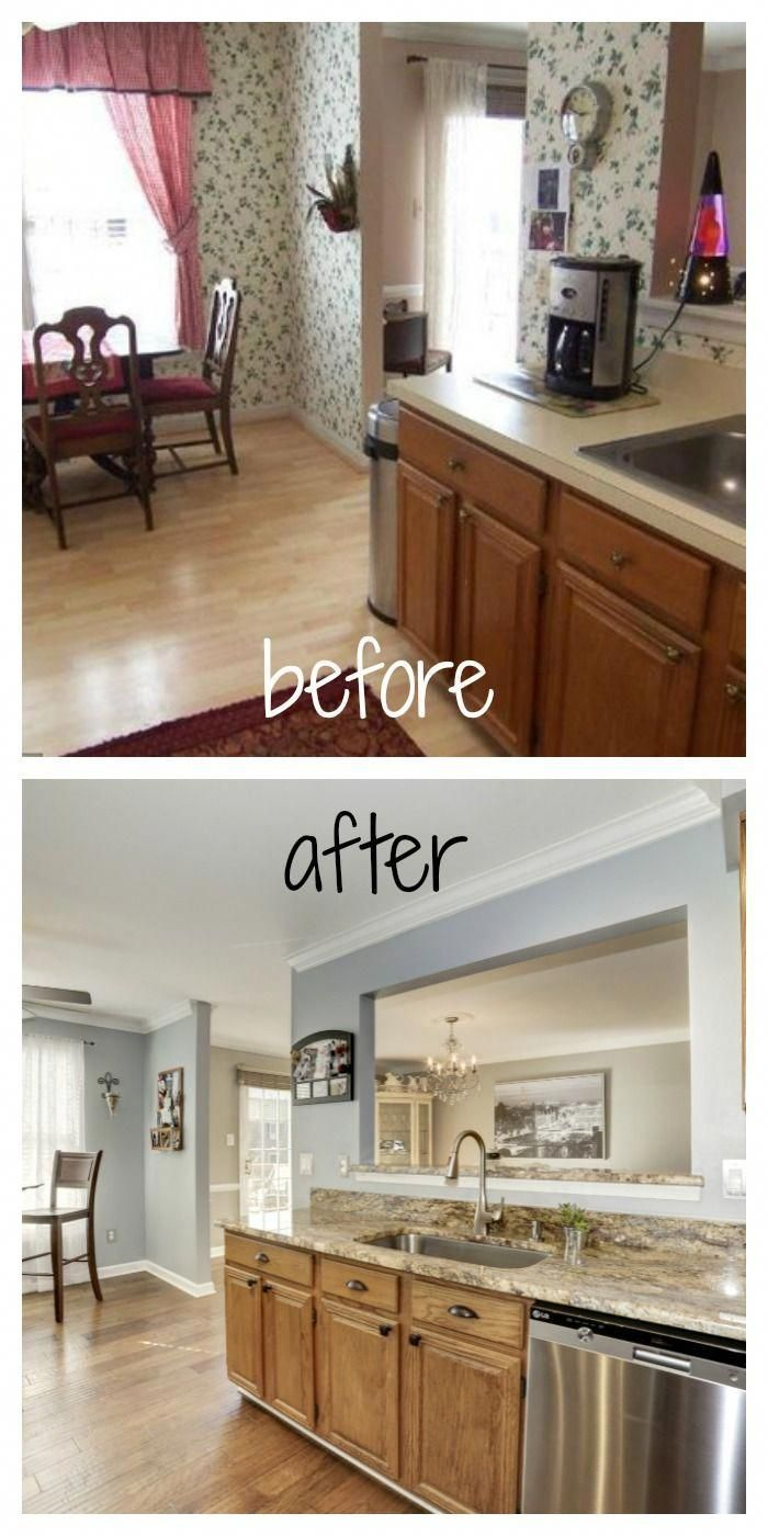 Wallpaperremovallove Loves The Find Loves The Find Blog Before And After Kitchen Diy Remod Diy Kitchen Remodel Brown Kitchen Cabinets Oak Kitchen Cabinets
