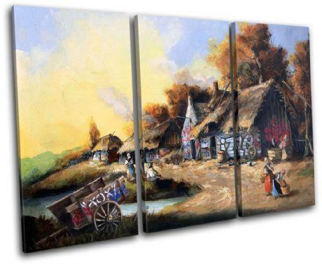 Graffiti Cottage Banksy Painting - 13-1021(00B)-TR32-LO