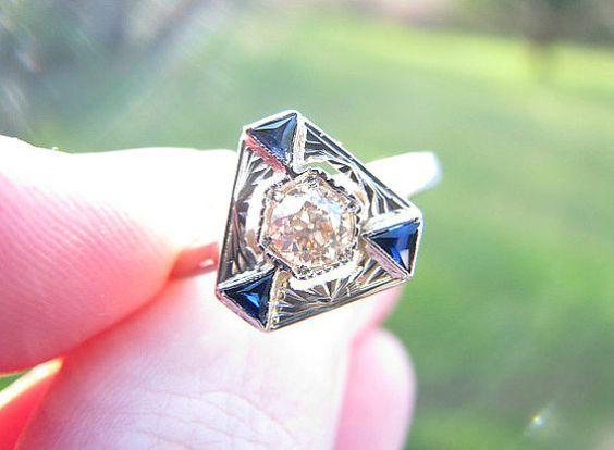 http://rubies.work/0590-emerald-rings/ Elegant 1920's Art Deco Diamond Sapphire Ring Clean by Franziska