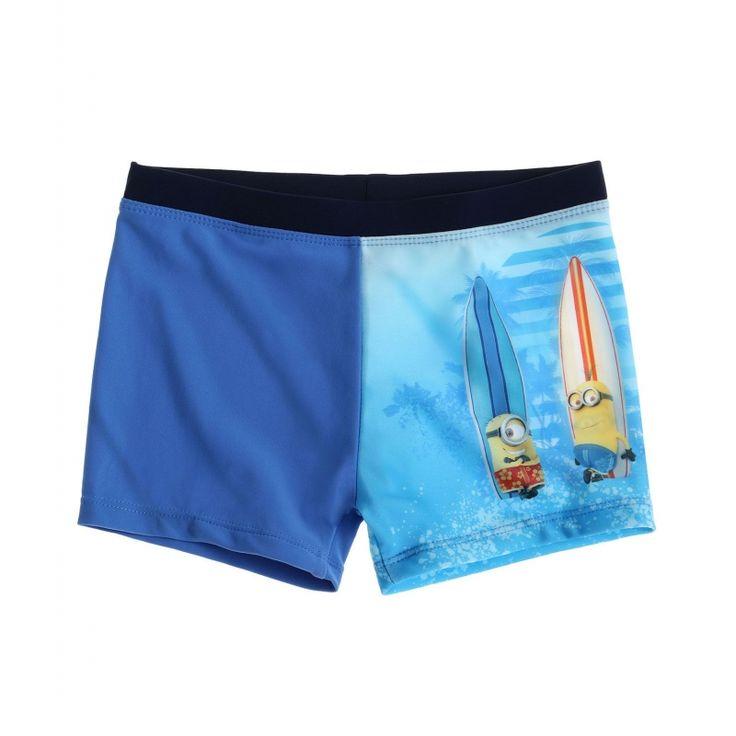 Slip de baie tip boxeri Minions albastru deschis