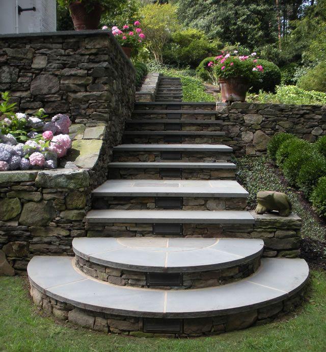 Leydon Landscaping Inc.-Stone Walls and bluestone steps