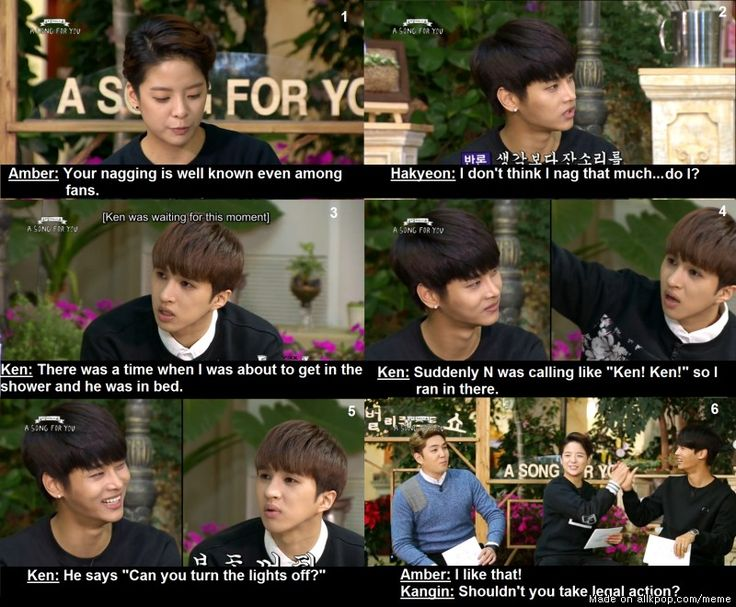 "NAGGING LEVEL: N | VIXX | hahaha and then Kangin ""Shouldn't you take legal action"" while Amber high fives him"
