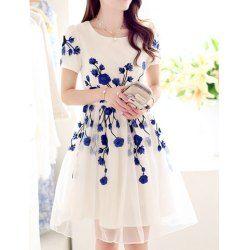 Wholesale Ladylike Floral Embroidery Design Short Sleeve V-Neck Lace Splicing Knee-Length Dress For Women (BLACK,XL), Dresses 2014 - Rosewholesale.com