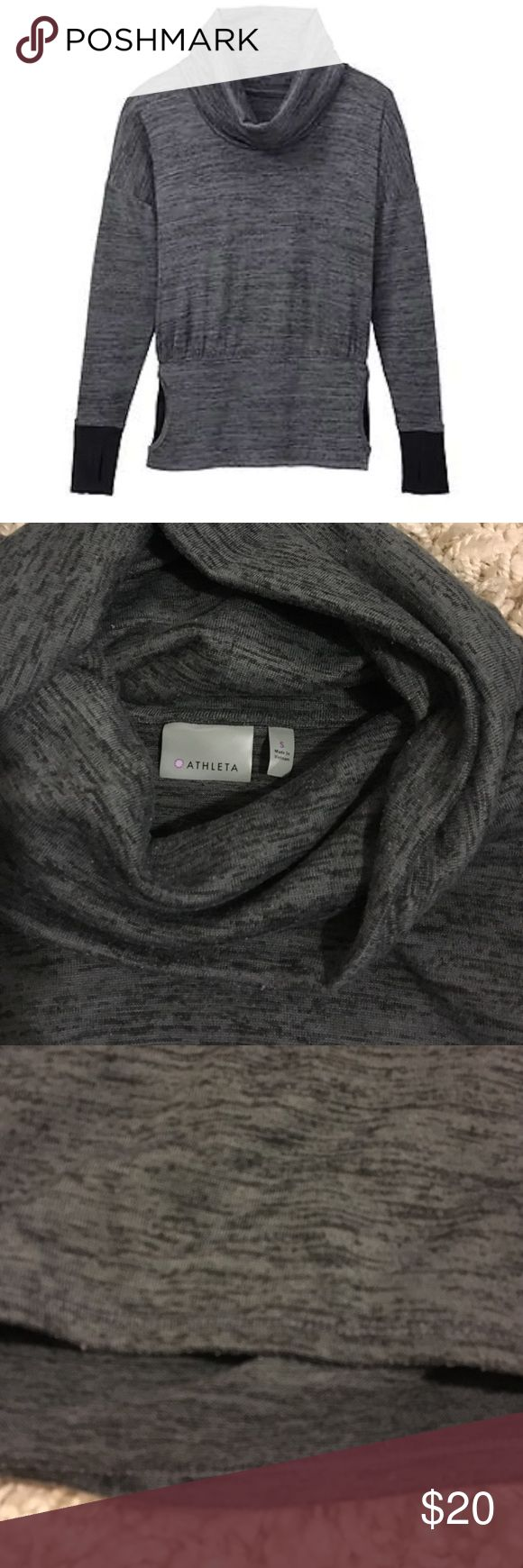 Athleta Batwing Cowl neck Bought this to wear while I was pregnant but I could have stuck with an xs.  As an athleta xs (and xxs in looser cuts/dresses) I probs would have sized down to an xxs if I bought this sans child in utero.  GUC Athleta Sweaters