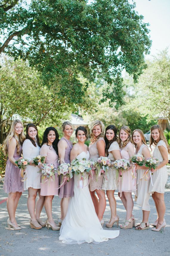 tonal bridesmaids dresses in blush and lilac | assorted styles from BHLDN | jen dillender photography: http://www.itakeyou.co.uk/wedding/mix-and-match-bridesmaids #bridesmaids