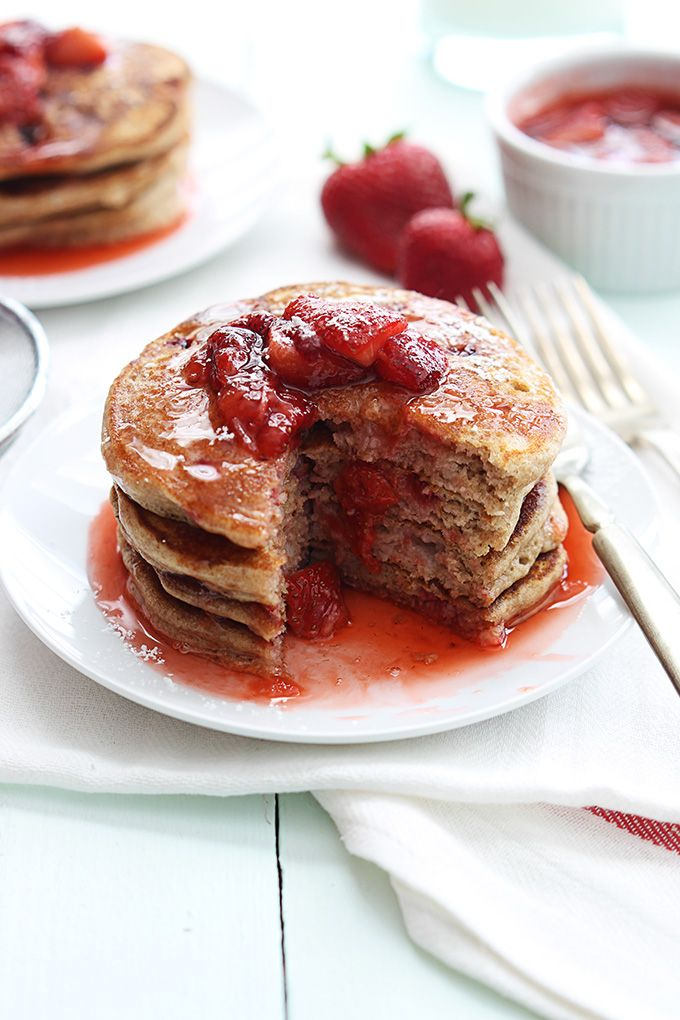 Whole Wheat Strawberry Pancakes (Maybe even with banana pancakes)