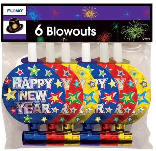6 pack hologram printed new years blow-out horns Case of 72