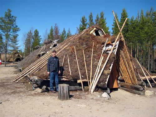 Reconstruction of 5000 years old wooden houses in Kierikki, Stone Age Center and Archeological museum at Yli-Ii, Finland