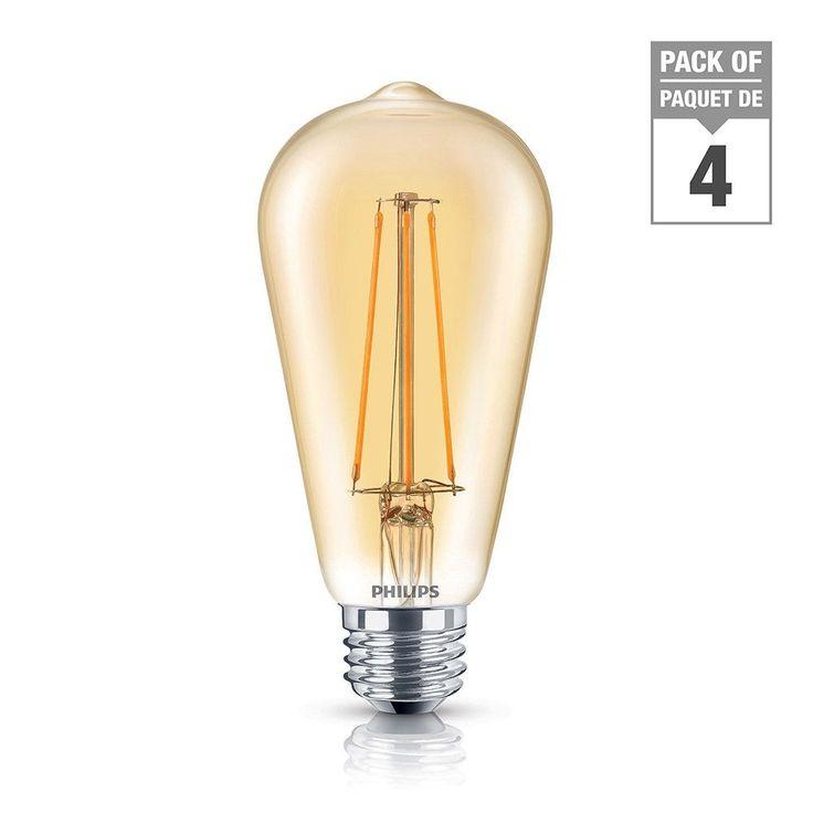LED 40W ST19 Filament Amber (2000K) - Case of 4 Bulbs