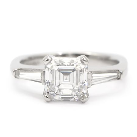asscher cut engagement ring with baguettes - But without the baguettes, and with thin diamond band