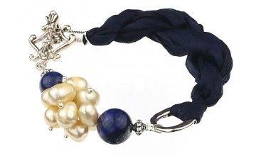 Bratara lapis lazuli, perle crem si matase