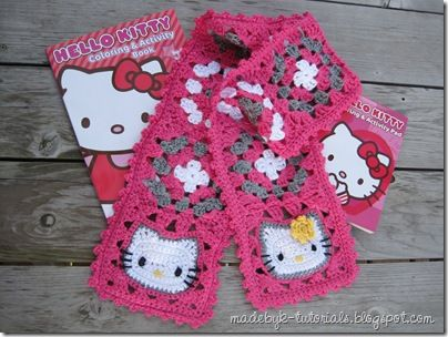 Free pattern: Hello Kitty scarf.  Includes a very detailed tutorial, including how to join as you go.  Scroll all the way down for a printable PDF.