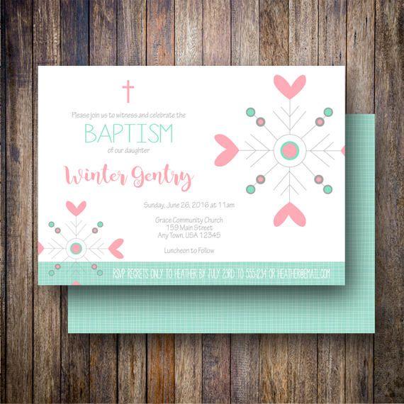 Invitación de bautismo de niña copo de nieve invitación