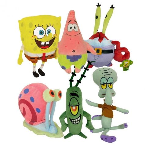 Spongebob - Plyšové postavičky, různé druhy. Plyšové postavičky z oblíbeného seriálu SpongeBob v kalhotách jsou tady! V nabídce naleznete všechny Spongebobi kamarády, které se v seriálu objevují. Mají pěkně provedené detaily, takže vypadají jako by se k vám dostali přímo ze seriálu.