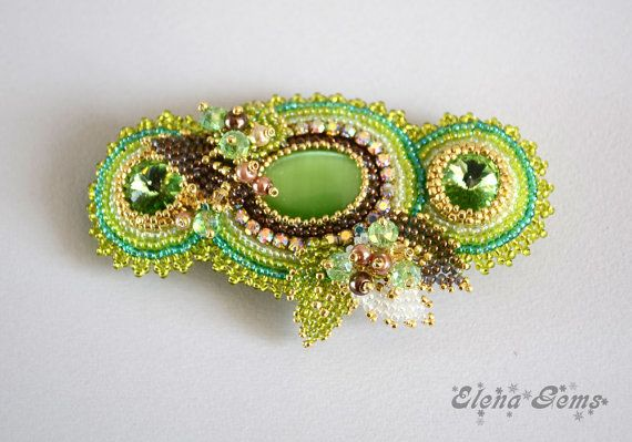 Bead embroidery barrette  Naomi by ElenaGems on Etsy