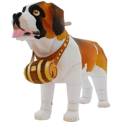 Sint-bernard,Dieren,Papiermodellen,Europa,Groot formaat,Zoogdieren ,Dieren,hond,Papiermodellen,hond