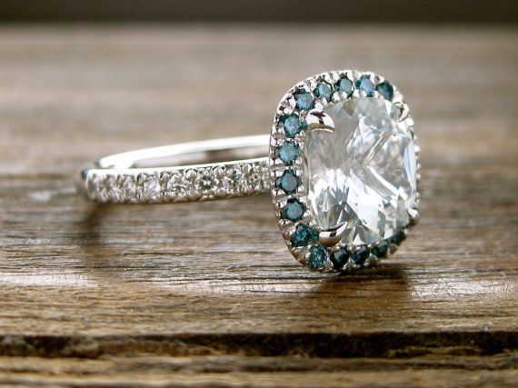 Natural White Sapphire Engagement Ring in 14K White Gold with Teal Diamonds in Halo-Style Setting Size 6