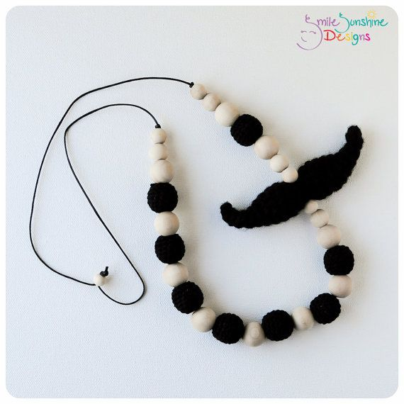 Breastfeeding Necklace, Nursing Necklace, Babywearing Necklace - Soft, Snuggly and Chewable - If You Mustache